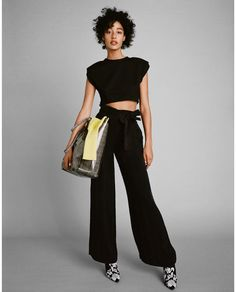 Image 1 of CROP TOP WITH SHOULDER PADS from Zara