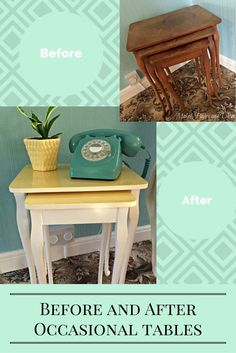 A tutorial on how I painted these thrift store / charity shop tables. This painted furniture Diy was really easy. Great upcycled tables for my office/library painted in yellow and duck egg blue.