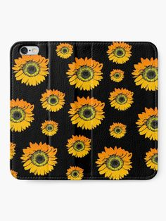 """""""Sunflowers on black background, summer flowers, floral pattern"""" iPhone Wallet by cool-shirts 