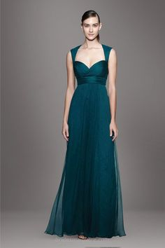 Teal Green Chiffon Queen Anne Neck Empire Floor Length A-line Bridesmaid Dress