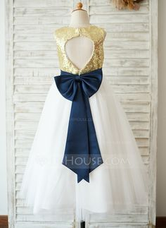 A-Line/Princess Tea-length Flower Girl Dress - Sequined Sleeveless Scoop Neck With Sequins/Bow(s) Girls Fancy Dresses, Kids Pageant Dresses, Flower Girl Dresses Boho, Bridal Robes, Wedding Party Dresses, Special Occasion Dresses, Fashion Dresses, Tea Length, Scoop Neck