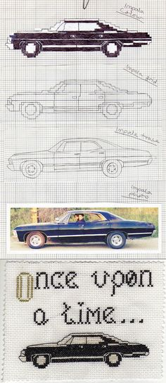 Impala cross-stitch by ~Crimefish on deviantART @linseymccoun Geek Cross Stitch, Cross Stitch Boards, Beaded Cross Stitch, Cross Stitch Embroidery, Embroidery Patterns, Cross Stitch Patterns, Supernatural Crafts, Supernatural Impala, Supernatural Baby