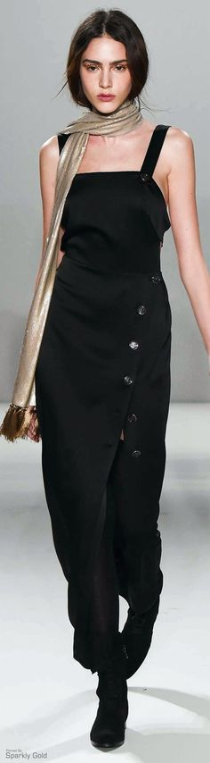 Temperley London ~ Fall Sleeveless Maxi w Front Side Buttons, Black 2015