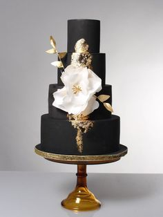 Fantasia - Black and gold with fantasy flower cake - The Sweet Stuff
