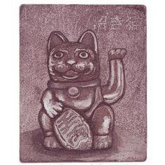 Onnenkissa Lucky Cat Maneki Neko by annamaijam on Etsy Intaglio Printmaking, Maneki Neko, Anna, Cats, Unique Jewelry, Handmade Gifts, Artist, Vintage, Kid Craft Gifts