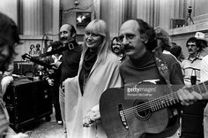 Paul Stookey, Mary Travers and Peter Yarrow of Peter, Paul and Mary at The Greek…