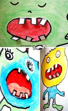 Monsters – toothless, scary and fun to make Zahnmonster First Grade Art, 2nd Grade Art, Art Activities For Kids, Art For Kids, Projects For Kids, Art Projects, Manualidades Halloween, Art Curriculum, Kindergarten Art