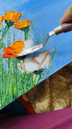 Plant Painting, Oil Painting Flowers, Knife Painting, Diy Painting, Art Oil Paintings, Encaustic Art, Fashion Painting, Diy Canvas Art, Multimedia