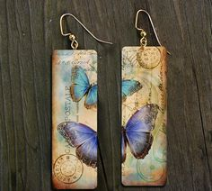Aged and distressed polymer clay earrings by adrianaallenllc, $15.00