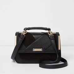 1567461875 River Island Black panel mini cross body satchel bag ( 48) ❤ liked on  Polyvore