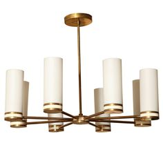 Italian Brass Chandelier w/ White Frosted Cylindrical Glass