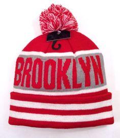 BROOKLYN POM-BEANIE Stripe Red/White/Gray Winter Knit Ski Hat Men/Women New York #Beanie
