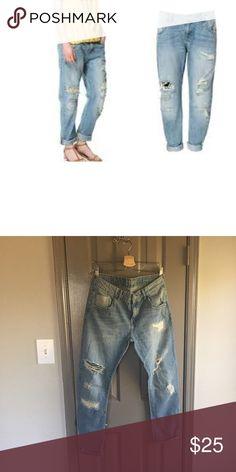 Zara boyfriend denim Light wash with distressing never worn Zara Pants
