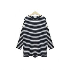 Yoins Plus Size Striped Top with Side Splits (49 BAM) ❤ liked on Polyvore featuring tops, black, women's plus size shirts, shirt top, womens plus tops, round neck shirt and striped shirt