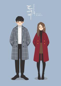 Cute Couple Drawings, Cute Couple Art, Cute Drawings, Cute Couples, Illustration Noel, Couple Illustration, Character Illustration, Goblin Art, Dibujos Cute