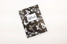 Notizheft A6 Journal 56 Seiten, schwarz weiß Schmetterlinge, Tagebuch, Reisenotizen, Designerpapier, Bulletjournal Notiz, individualisierbar von crehand auf Etsy