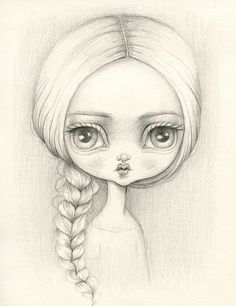 This sketch by Lauren Saxton is adorable and still kind of empowering to me… Doll Eyes, Doll Face, Black Bratz Doll, Doll Drawing, Beautiful Barbie Dolls, Pretty Dolls, Blythe Dolls, Sock Dolls, Kokeshi Dolls
