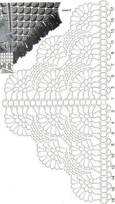 Best 12 Shawl Crochet Patterns Part 15 – Beautiful Crochet Patterns and Knitting Patterns – SkillOfKing. Crochet Diagram, Crochet Chart, Crochet Motif, Crochet Doilies, Crochet Lace, Crochet Stitches, Crochet Patterns, Knitting Patterns, Poncho Au Crochet