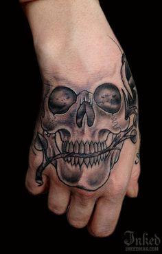 Skull hand tattoo from El-E Mags #InkedMagazine #skull #hand #tattoo #inked #ink #tattoos