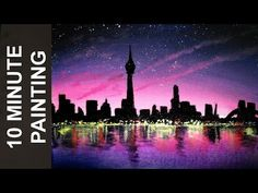 Painting a City at Night with Acrylics in 10 Minutes! - YouTube
