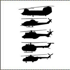Helicopters-set of 5 4 1/2H x 16W each by VinylDesignCreations