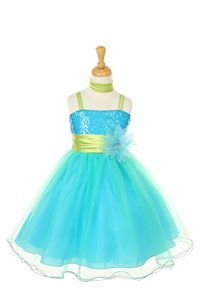 Flower Girl Dresses -   Girls Dress Style 106- TURQUOISE Sequin Bodice and Tulle Skirt Party Dress