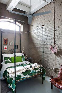 interiors, interior design, home decor, decorating ideas, bohemian, loft style, industrial, bedroom inspiration