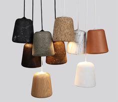 Material-Pendant: One design, different materials, designed by Copenhagen based design studio Noergaard Kechayas  http://noergaard-kechayas.com/material-pendant/