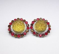 Amber & Red Clip On Earrings Clip On Earrings, Stud Earrings, Gemstone Earrings, Druzy Ring, Amber, Gemstones, Red, Beauty, Studs