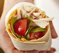 Chicken wrap with sticky sweet potato, salad leaves & tomatoes. Use leftover chicken in these light lunchbox-friendly multigrain wraps with fresh salad and mashed sweet potato