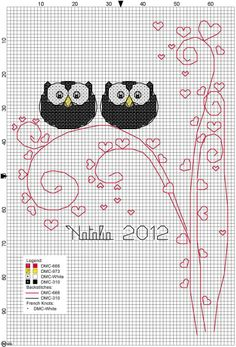 Cross Stitch Pattern free, just the hearts part Cross Stitch Owl, Cross Stitch Animals, Cross Stitch Designs, Cross Stitching, Cross Stitch Patterns, Blackwork Embroidery, Cross Stitch Embroidery, Needlework, Sewing Projects