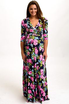 Jade Vibrant Floral Draped 3/4 Sleeve Maternity Maxi Dress | Print ...
