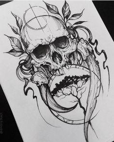 New Tattoo Designs Skull Drawings Ideas Evil Skull Tattoo, Skull Tattoo Design, Skull Tattoos, Black Tattoos, Body Art Tattoos, Sleeve Tattoos, Tattoo Designs, Tattoo Ideas, Tatoos