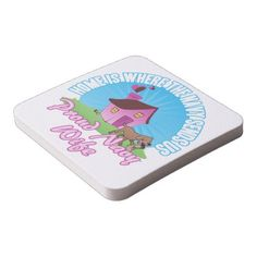 Home Is Where... Square Paper Coaster - love gifts cyo personalize diy