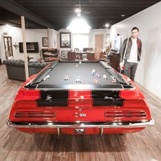 Refresh the look of your house with this car pool tables. Due to its original and sophisticated design it will be applicable to the room in your great home. Game Room Furniture, Man Cave Furniture, Car Part Furniture, Automotive Furniture, Automotive Decor, Furniture Making, Automotive Carpet, Automotive Logo, Automotive Tools