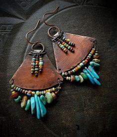 Tribal Southwest Tur Tribal Southwest Turquoise Fringe Aged Copper Earrings by c. art Tribal Southwest Tur Tribal Southwest Turquoise Fringe Aged Copper Earrings by c. Copper Earrings, Copper Jewelry, Leather Earrings, Leather Jewelry, Turquoise Jewelry, Wire Jewelry, Beaded Earrings, Boho Jewelry, Earrings Handmade