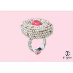 repost from @formsjewellery Conch Pearl & Pink Diamond Ring - Forms Jewellery