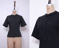 1950s Dutchmaid black shirt / Vintage 50s button up by Ainshent, $39.00