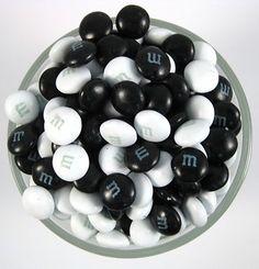 Black & White candies for the dessert table or wedding favors. #BlackAndWhite #WeddingFavors