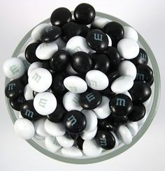 Black & White candies for the dessert table or wedding favors. #BlackAndWhite #WeddingFavors