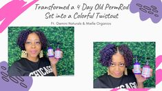 I Transformed my Four Day Old PermRod Set into a Colorful Twistout| Gemi... Hair Milk, Temporary Hair Color, Twist Outs, Hair Transformation, Gemini, The Creator, Organic, Colorful, Twins