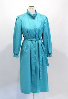 Vintage Clothing Sea-foam Blue Long Trench Coat 1970s