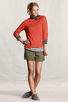 Women's Open Crew Raglan Sweater from Lands' End Canvas