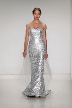 Bridal style Maisa by Kelly Faetanini. Slim sheath in silver metallic baroque printed genuine leather with sweetheart neckline. Rhinestone buttons and sweep train. Bridal Gowns, Wedding Dresses by Kelly Faetanini Metallic Wedding Dresses, Weird Wedding Dress, Wedding Dresses Photos, Fall Wedding Dresses, Bridal Dresses, Wedding Gowns, Metallic Weddings, Reception Dresses, Wedding Attire