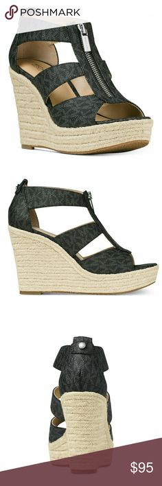 """New! MICHAEL KORS MK Logo Wedges Zipper Sandals The height of fashion... the?Damita platform sandals are the ultimate wedge. The zipper detail along the front provides the chic and glamorous touch that MICHAEL Kors is known for.  Brand New With Box   Color: Black Logo  Round open-toe platform wedge sandals  Silver-tone top zip  3-3/4"""" espadrille wedge heel, 1"""" platform  Black logo PVC upper; manmade sole Michael Kors Shoes Wedges"""