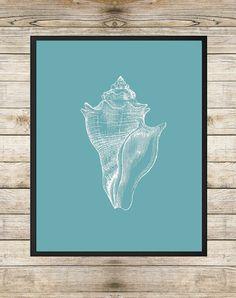 Seashell Nautical Print 8 x 10 Printable - Beach Decor White Seashell Sketch Coastal Wall Art