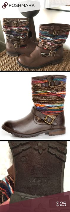 Dollhouse Yarn Brown Multi-color boots EUC-Dollhouse yarn ankle boots.  See description in photos Dollhouse Shoes Ankle Boots & Booties