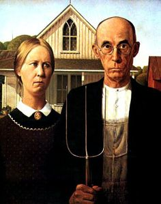 American Gothic House and Center in  Eldon, Iowa.  The house still stands as a backdrop for couples who want to pose in front of the house.  Interior of house is not open to the public.