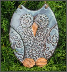 Hand made Owl Wall Hanging Pottery Stoneware by Barbarah Robertson