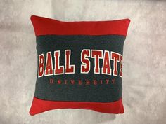 This Ball State University recycled sweatshirt pillow created by KrisKraftyKreations is the perfect gift for a graduate, student, or alumni! This also makes a great gift for the student who has decided to attend Ball State. Msu College, College Student Gifts, College Students, Student Christmas Gifts, Care Packages, Fabric Bags, Pillow Forms, Dorm Decorations, Acceptance